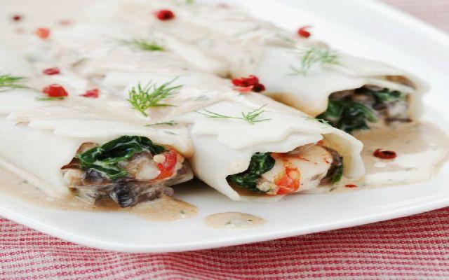 Imagen de la receta de Canelones con setas y gambas
